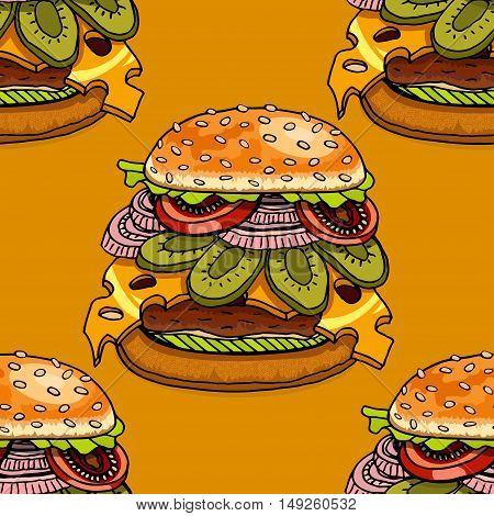 Seamless background with cartoon style hamburgers. Vector illustration
