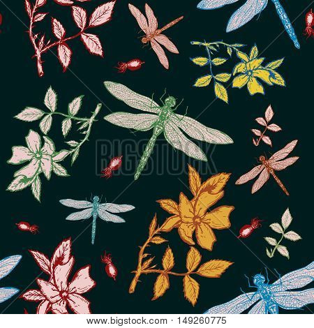 Dragonfly and wild rose autumn seamless pattern