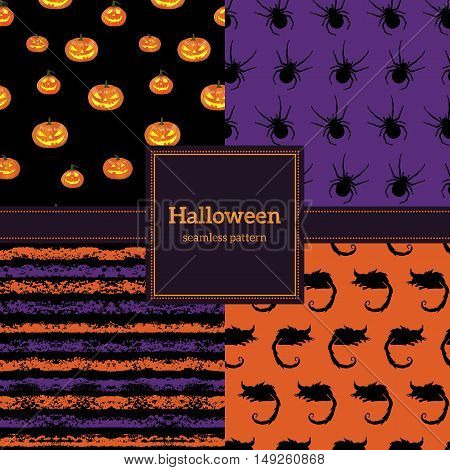 Set Of Halloween Backgrounds. Collection Of Seamless Patterns In The Traditional Holiday Colors.
