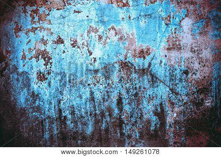 The old blue walls for vintage background