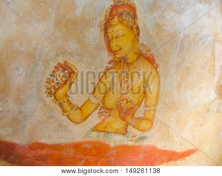 Ancient fresco in the cave temple, Sigiriya, Sri Lanka, Asia - UNESCO World Heritage Site
