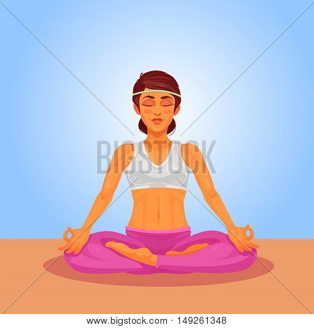 Vector illustration of a girl yoga in the lotus position. The girl is engaged in yoga indoors.