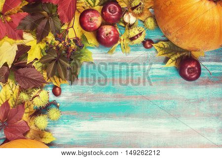 Frame made of autumn leaves pumpkins apples chestnuts and wild grapes on old wooden background. Copy space. Toned image.