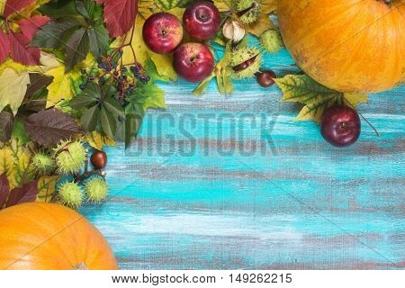 Frame made of autumn leaves pumpkins apples chestnuts and wild grapes on old wooden background. Copy space.