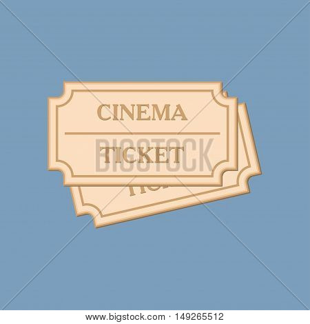 Ticket of flat style. Retro cinema card. Vector illustration