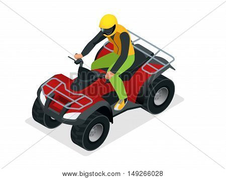 ATV rider in the action. Quad bike ATV isometric vector illustration. Motocross bike icon