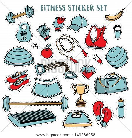 Sport and fitness colorful sticker set of hand drawn doodles, vector illustration isolated on white background. Sport clothes, dumbbell, fitball, gloves, scales, step and cup doodle stickers
