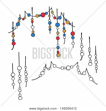 Beads. Decorative elements. Frame of beads. Isolated vector objects on white background.