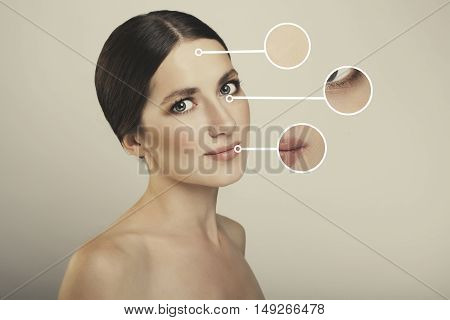 young beautiful woman close up photo studio