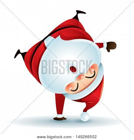 Santa Claus standing on his arm. Upside down.