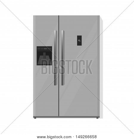 Refrigerator vector illustration isolated on white background, silver grey fridge with two doors flat cartoon design