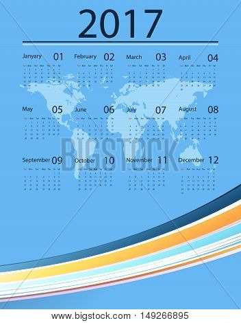 2017 vector calendar design. Corporate style with world map. Elements for your work. Eps10