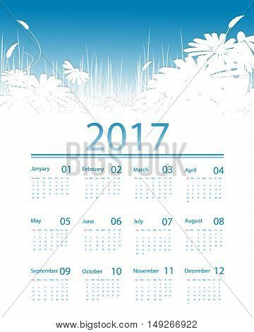 Floral 2017 vector calendar design. Elements for your work. Eps10