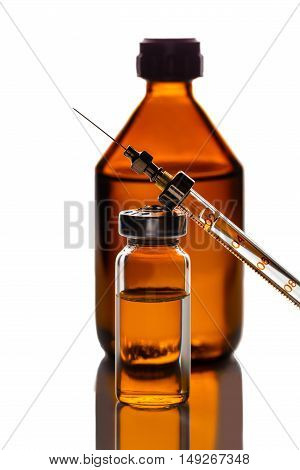 medicament in a glass vial and syringe closeup