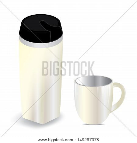 Thermos bottle with cup isolated on white background.
