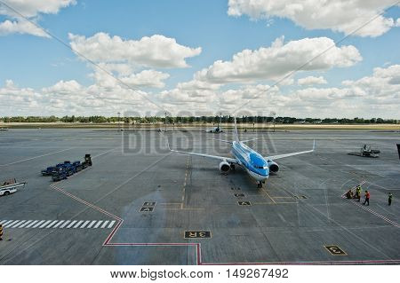 Kyiv, Ukraine -15 August 2016: Klm Royal Dutch Airlines Boeing 737 Stay At Boryspil Airport  Near Ky