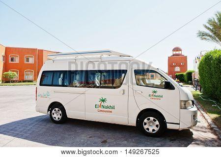 Hurghada, Egypt -20 August 2016: El Nakhil Limousine Car Bus At Luxury Resort Caribbean World Soma B