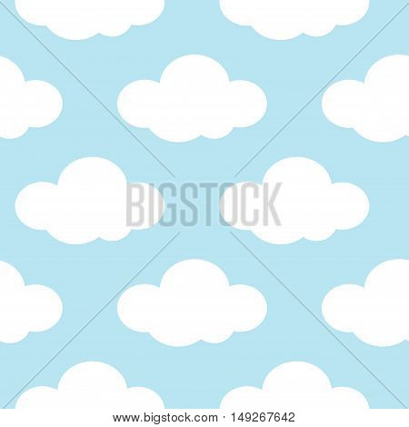Light blue sky with white clouds seamless background. Vector illustration