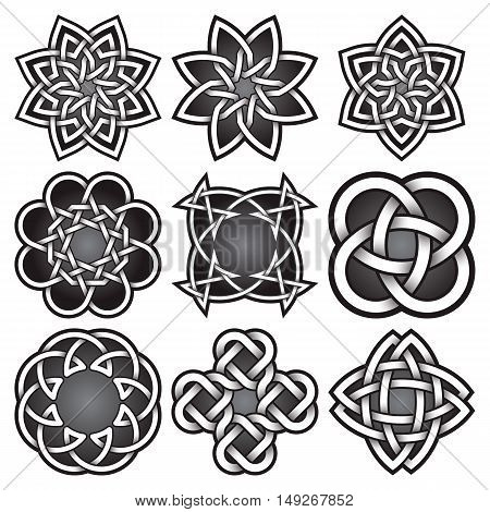 Set of logo templates in Celtic knots style. Tribal tattoo symbols package. Nine silver ornaments for jewelry design. Monochrome logos design elements.