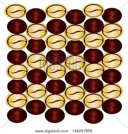 Background of the coffee beans  golden coffee beans chocolate coffee beans