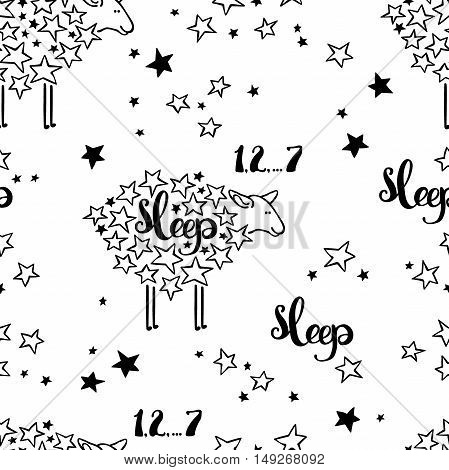 Sleep. Sheep and stars. Seamless vector pattern (background).