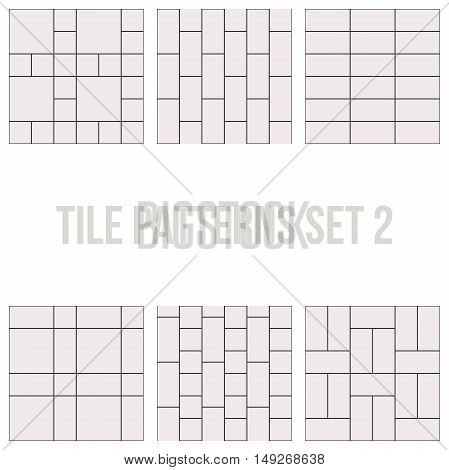 Set of thin line seamless pattern brick tile, use for background, path, toilet wall, patio, wooden floor, ceramic tile, parquet floor, stack bond and texture