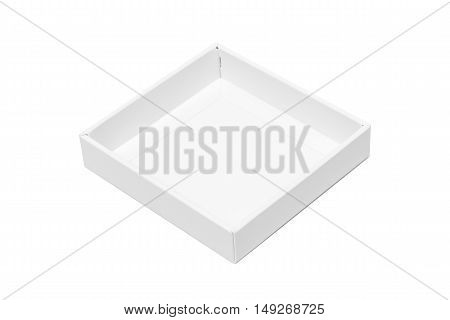 White Tray Or White Paper Package Box Isolated On White Background