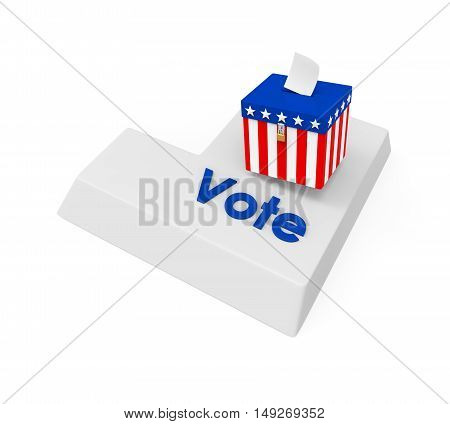 Vote Enter Button isolated on white background. 3D render