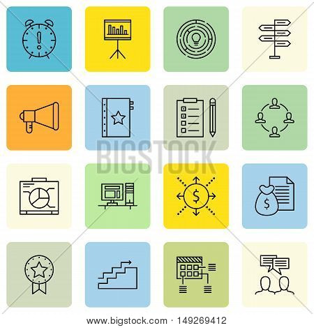 Set Of Project Management Icons On Money Revenue, Team Meeting, Workspace And More. Premium Quality