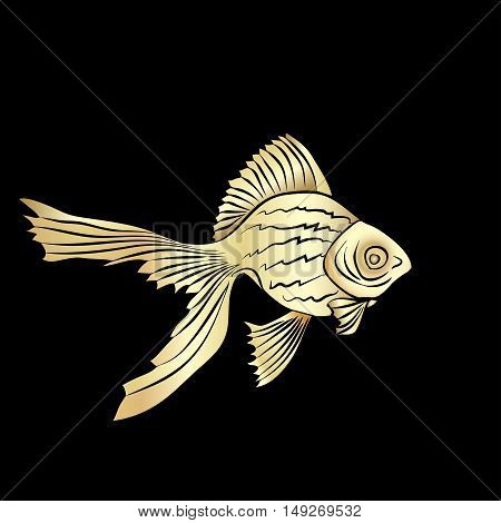 Goldfish cards silhouette. Goldfish. Carp gold silhouette vector isolated on a black background.