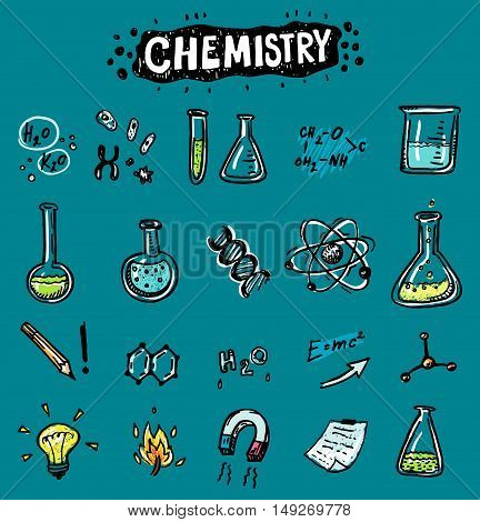 Hand drawn chemistry and science funny icons set.