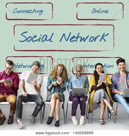 Social Network Connection Internet Digital Words Concept