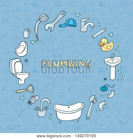 Hand drawn plumbing doodle set, round frame