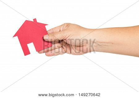 Hand holding red house representing white background