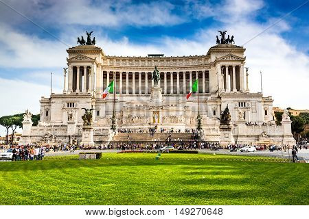 ROME ITALY - 2 APRIL 2016: Altar of the Fatherland (Altare della Patria) known as Vittoriano. Rome Italy Piazza Venezia.