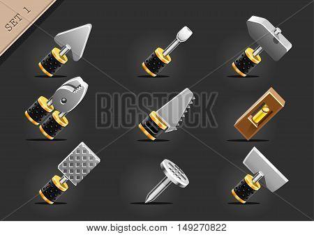 Set of nine instruments for build industry on black background