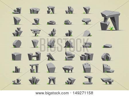 Big set of grey stones with grass for creating video game