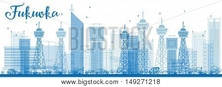 Outline Fukuoka Skyline with Blue Landmarks. Business Travel and Tourism Concept with Historic Buildings. Image for Presentation Banner Placard and Web Site.