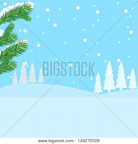 Vector of winter landscape, snowfall in forest. Flat color design