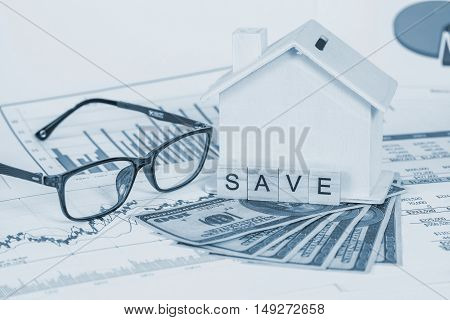 Miniature house with money and chart tone color