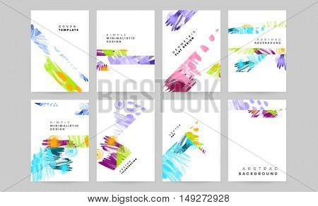 Trendy watercolor vector pattern with brush strokes. Hand drawn abstract elements. Memphis retro style patterns designs for covers brochures, EPS10