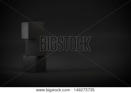black box stack on black background 3d rendering