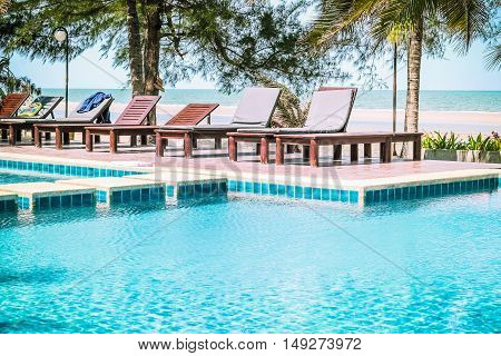 Swimming pool in beautiful beach resort Hua Hin, Thailand