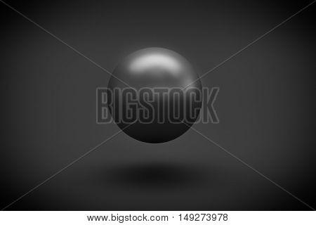 black sphere levitation on black background 3d rendering