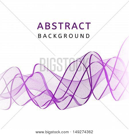 Abstract smooth transparent colorful wavy background. Curved purple flow motion. Smoke gradient waves design with stripes. Vector illustration