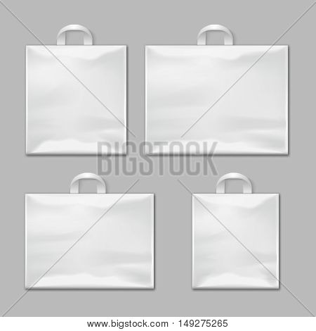 White empty reusable plastic shopping bags with handles vector templates, design mockups. Package polythene for shop and market illustration