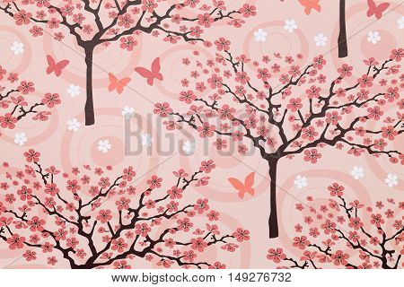 Close up of cherry tree pattern paper, texture background