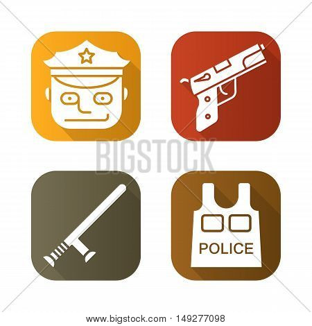 Police flat long shadow icons set. Gun, police officer, bulletproof vest, baton . Vector symbols