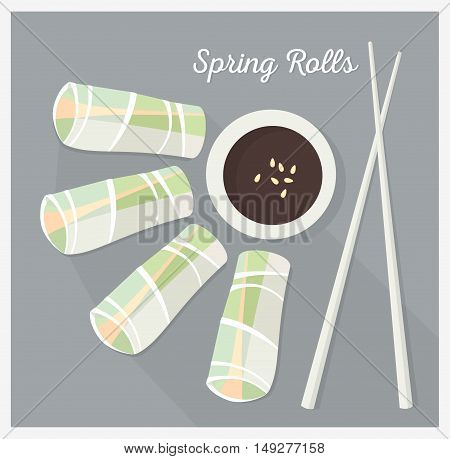 Spring rolls, asian dish. Vector color  illustration.