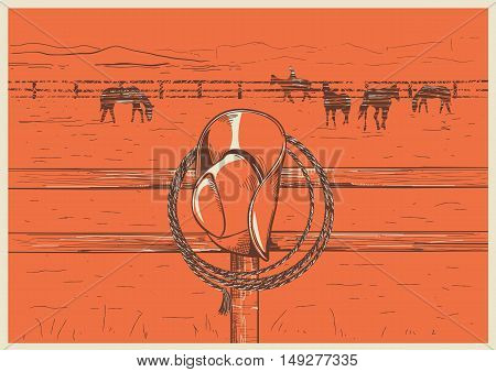 American West Cowboy Hat And Lasso On Wood Fence